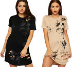Womens Distressed Ink Splash Dress Top Ladies Ripped Short Sleeve Round Neck