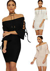 Womens Bardot Bodycon Mini Dress Ladies Short Tie Sleeve Off Shoulder Party