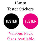 13mm Black or Pink 'Tester' Stickers - Various Pack Sizes Available