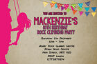 Personalised Wall / Rock Climbing Adventure Birthday Party Invites + envs B129