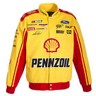 2017  Authentic Joey Logano Pennzoil Yellow Cotton Jacket JH Design Free Ship