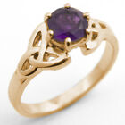 Trinity Knot Ring 1ct Amethyst Diamond-Unique 9ct Gold White/Yellow