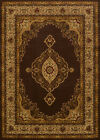 Brown Traditional Oriental Carpet Medallion Scrolls Bordered Vines  Area Rug