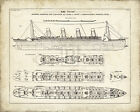 Vintage Collection TITANIC BLUEPRINT VINTAGE I giclee print VARIOUS SIZES new