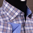 White Checkered Flannel Formal Business Dress Shirt Red Striped Untucked Fashion