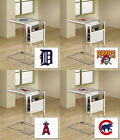 MLB Frosted Glass and Chrome TV Tray Magazine Rack Glass Shelf w/ Baseball Logo