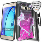 For Samsung Galaxy On5 Rugged Image Case Belt Clip Holster+Tempered Glass Screen