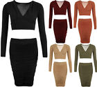 Womens Stretch Bodycon V-Neck Short Crop Top Ruched Knee Skirt Ladies Set Suit