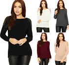 Womens Long Sleeve Cold Shoulder Fisherman Jumper Ladies Sequin Cable Knit Top