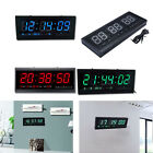 Red Large Modern Design Digital Led Wall Clock Watches 24 or 12-Hour Display