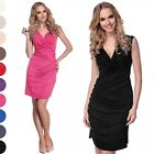 Glamour Empire Women's Asymmetric Drape Dress Sleeveless Wrap V-neckline 045