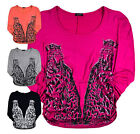 Ladies Tops New Women Leopard Batwing Animal 3/4 Sleeve T-Shirts S/M M/L UK 8-14