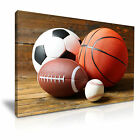 SPORTS Balls Football Basketball Canvas Wall Art Picture Print ~ More Size