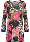 Plus Womens Baroque Swing Dress Top Ladies Long Bell Sleeve Print Flared New