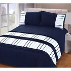 Modern Pleated Striped Duvet Cover - White & Navy Blue Ribbon Bedding Bed Set