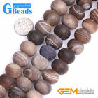 Brown Stripe Frost Matte Agate Rondelle Spacer Jewelry Making Beads Strand 15""