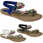 JLH782 Briony Womens Elasticated Strap Padded Chain Plaited Thong Sandals