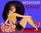 POSTER MARVELOUS BEACHES FRANCE BEACH GIRL HAT FASHION VINTAGE REPRO FREE S/H