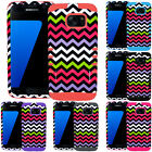 Pink Green Chevron Shockproof Impact Armor Hard Cover Case For Samsung Galaxy S7