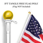 Anley 5 Feet Wall Mount Flagpole, Aluminum Flag Pole with Rotating Rings