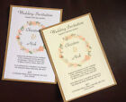 10x Personalised Handmade Wedding Day/Evening invitations with Envelopes