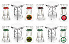 FC726 VINTAGE GAS AUTO SHOP THEMED ROUND WHITE BAR TABLE & CHROME STOOLS SET