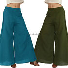 2017 Womens Casual Loose Mid Waist Long Wide Leg Trousers Cotton Palazzo Pants
