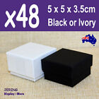 Ring Box Jewellery Gift Case | 48pcs Bulk 5x5cm | Plain Black Ivory | Aus Stock