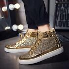 Mens Stylish Riveted Rounf toe Studded Lace-up Flat High top Athletic Shoes new