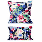 Asian Oriental Cushion Cover With Floral In Royal Blue - Soft Velour Touch