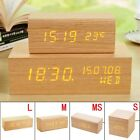 Luminous Wooden Wood Digital LED Desk Alarm Clock Thermometer Timer Calendar