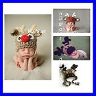 New Baby BOYS kids Reindeer Beanie Newborn–3Yrs CROCHET  PHOTO prop Xmas Gift
