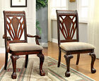 2PC Cherry Padded Fabric Cushion Curved Claw Feet Wood Arm Chair or Side Chair