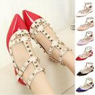 New Women's Comfy T-strap Studded Flats Pointed Toe Single Sandals Shoes Flats