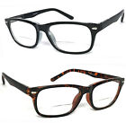 1 or 2 Pairs Clear Bifocal Reading Glasses Retro Rectangular Frame Spring Temple