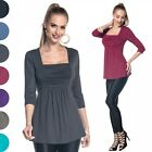 Glamour Empire. Women's Elastic Top 3/4 Sleeves Ruched Bust Empire Waist. 560