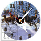 T-133 CD CLOCK-DEER AND BUCKS RUNING IN THE SNOW-DESK OR WALL CLOCK-FREE SHIP