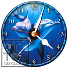 S-897 CD CLOCK-TWO SWIMMING DOLPHINS-FAST FREE SHIPPING-GREAT GIFT-BUY IT NOW