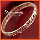 18K ROSE GOLD GF ANTIQUE FILIGREE SOLID LADIES GIRLS 8MM ROUND BAND GOLF BANGLE