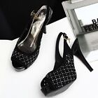 Chic Ladies Stiletto Crystal Peep Toe Buckle strap Slinbacks Sandals Party Shoes