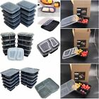 10 PACK MICROWAVE & DISHWASHER SAFE MEAL PREP PLASTIC FOOD CONTAINER COMPARTMENT