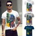 New Men's Round-neck Short Sleeve Soft T-Shirts Tee Tops Indians Print 2016