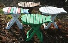 Unusual Folding Rustic Table Hand Made Fish design Shabby Chic Table / Chair
