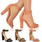 Womens Ladies Block High Heels Ankle Strappy Peep Toe Party Sandals Shoes Size