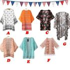 7 Styles Women Printed Cardigan Half Sleeve Kimono Cardigan Tops Blouse Cover Up