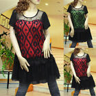 Green red black sheer layer short sleeve dress tunic top 1732 SIZE M L XL