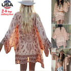 Women Girl Boho Printed Chiffon Loose Shawl Kimono Cardigan Tops Cover up Blouse