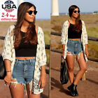 Women Elephant Printed Half Sleeve Kimono Cardigan Coat Tops Blouse Cover up US