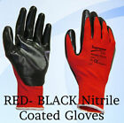 48 Pairs Red Black Nitrile Coated INdustrial Work Gloves Gardening Builders Grip