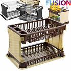 2 TIER RATTAN MODERN DISH DRAINER CUTLERY HOLDER FOLDING RATTAN PLASTIC KITCHEN